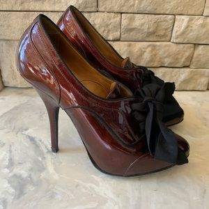 Lanvin Derby Prune Stiletto Bow Heels